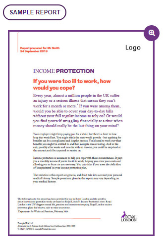 Income protection example report