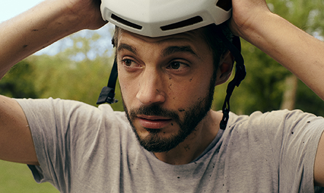 Man with bike helmet